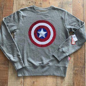 NEW Marvel Captain America Sequin Sweatshirt